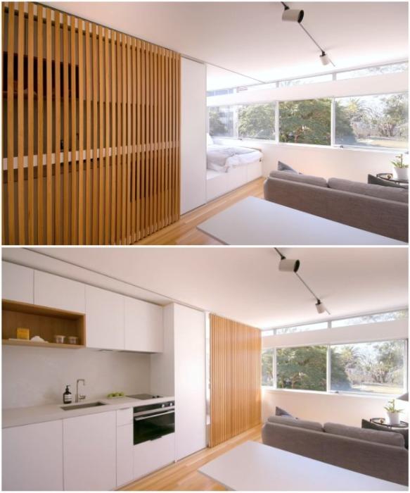 В зависимости от ситуации за ширмой можно спрятать кухню или спальню («Boneca», Сидней). | Фото: youtube.com/ NEVER TOO SMALL.