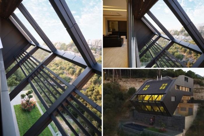 Прямоугольная конструкция, отступающая от стен основного здания, привнесла особую изюминку в экстерьер особняка CH730 Villa (Ливан).   Фото: e-architect.co.uk.