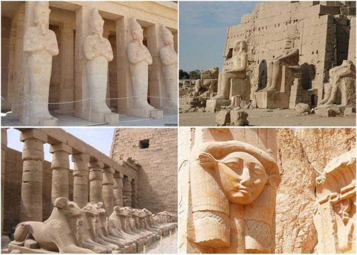 Скульптуры храмового комплекса Хатшепсут представляют царицу в трех образах — Осирис, фараон, и сфинкс. | Фото: egyptfan.ru.