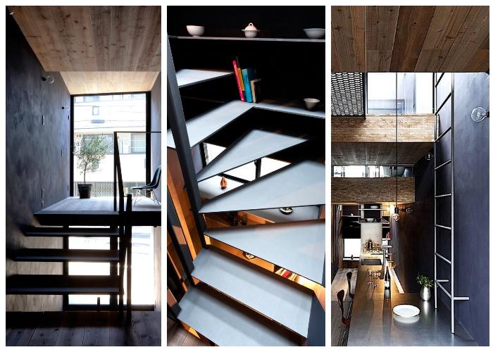 Несколько видов лестниц украшают интерьер («Ultra-Narrow House», Токио).