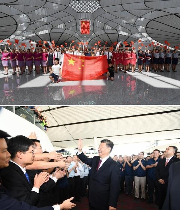 25 сентября 2019 г. Председатель КНР Си Цзиньпин объявил об официальном открытии Daxing International Airport (Пекин). | Фото: vedomosti.ru.
