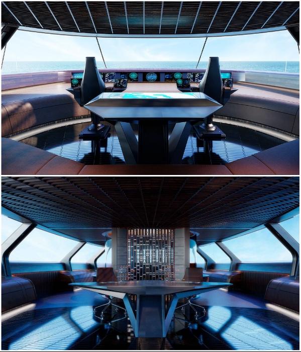 Рядом с рулевой рубкой расположена капсула с 360-градусным обзором (концепт «AQUA»). | Фото: interestingengineering.com/ © Sinot Yacht.