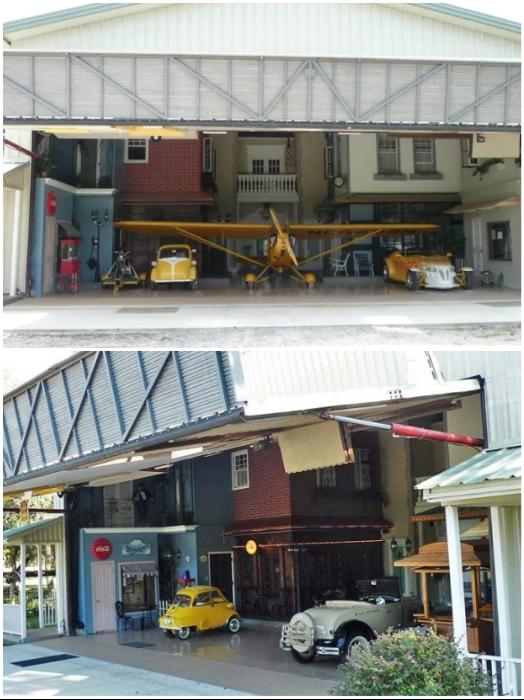 Несколько раритетных машин и настоящий самолет у входа в «Danville» могут увидеть его гости (Флорида, США). | Фото: attn2details.wordpress.com/ doorlandonorth.com.