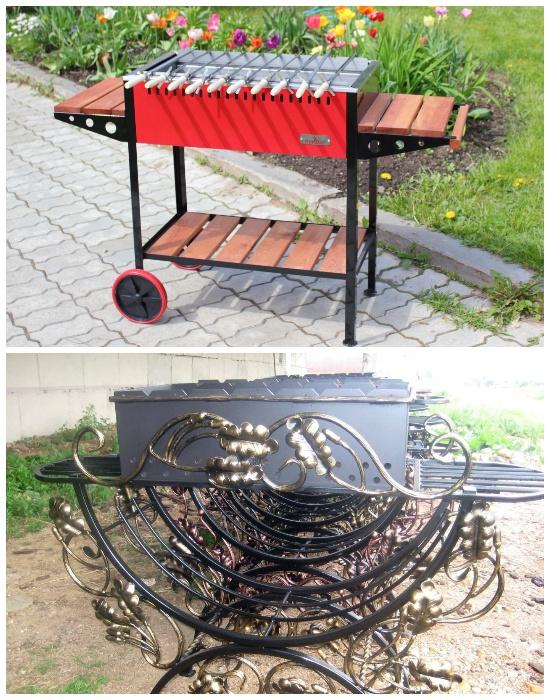 Конструкции мобильного мангала со столиками и на колесах. | Фото: landshaftdizajn.ru.