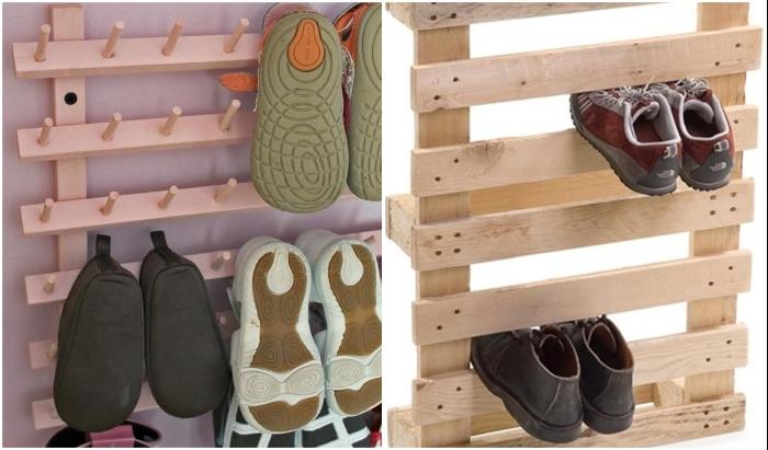 Интересные варианты хранения детской обуви.