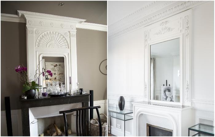 С помощью гипсового декора можно выделить зону камина. | Фото: roomplan.ru.