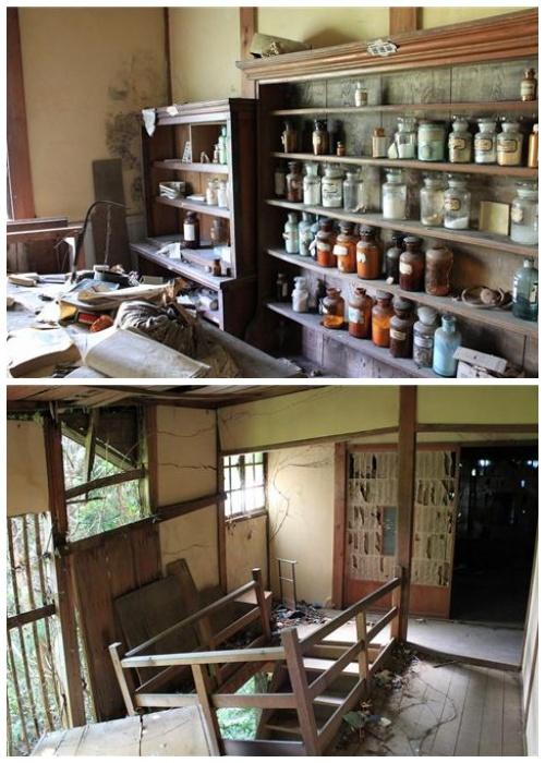На полках кабинетов клиники остались медикаменты и все оборудование (Префектура Гифу, Япония).