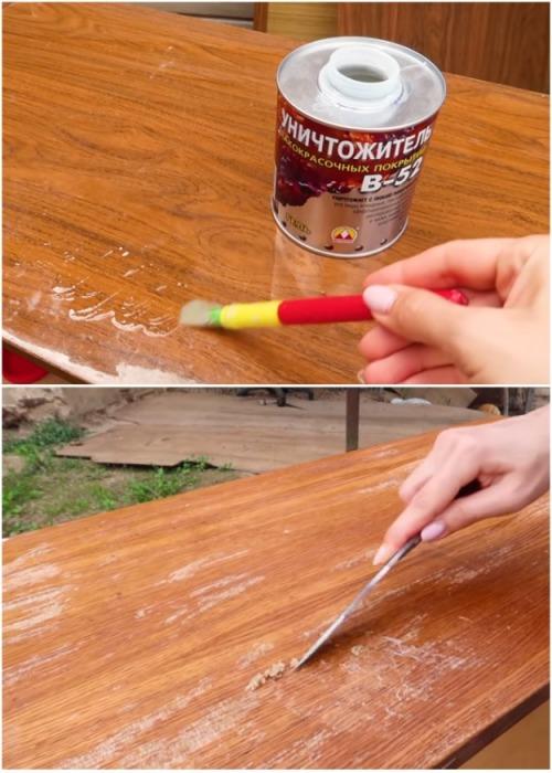 При помощи уничтожителя лакокрасочных покрытий удалось снять тонкий слой лака на боковых панелях тумбы и ящиков. | Фото: youtube.com.