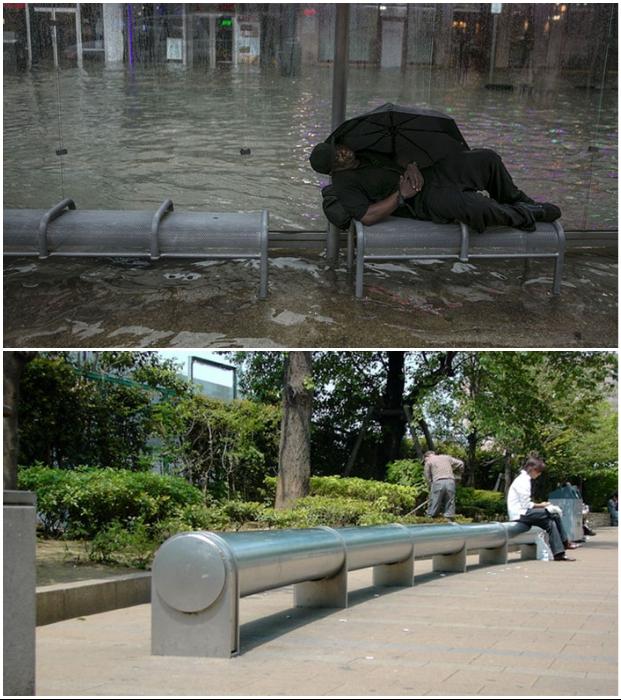 Яркое подтверждение того, что дизайн скамеек бывает анти-бездомным.
