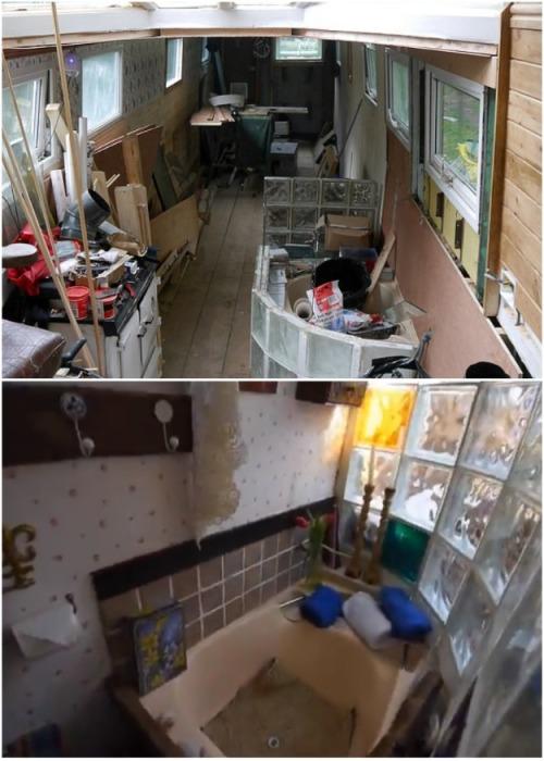 Перегородку для маленькой ванной комнаты частично сделал из стеклянных блоков. | Фото: medialeaks.ru.