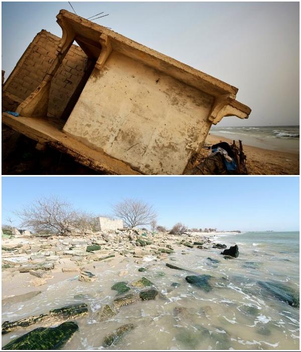 Когда вода отступает, можно наблюдать жуткую картину (Saint Louis, Сенегал). | Фото: berniesafricanodyssey.blogspot.com/ bigpicture.ru.