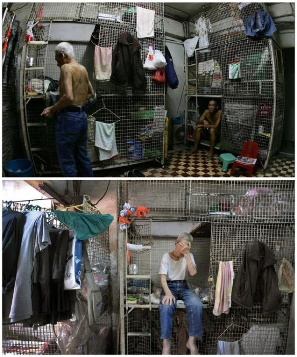 Около 100 тыс. трудовых мигрантов живут в таких шокирующих условиях («coffin homes», Гонконг). | Фото: pikabu.ru.