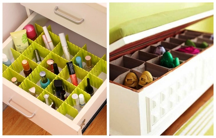 Перегородки можно устанавливать в любой имеющейся мебели.
