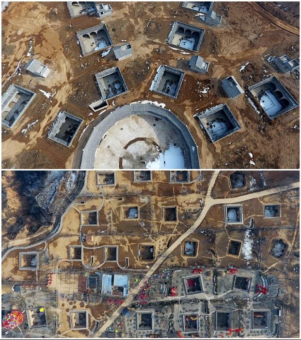 Так выглядят подземные поселения Китая с высоты птичьего полета. | Фото: sibfun.ru/ drive2.com.