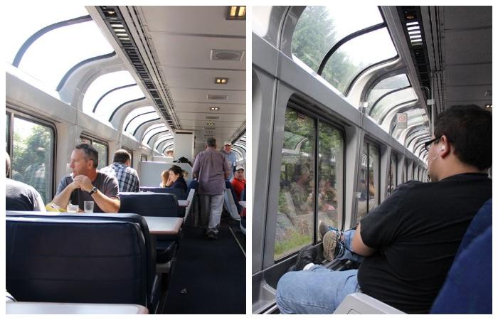 Вагон-ресторан и специальный экскурсионный вагон оборудован панорамными окнами, чтобы пассажиры могли наслаждаться пейзажем (США).