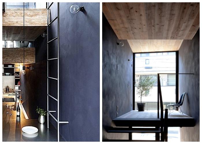 В оформлении интерьера использовали темно-серые тона и натуральное дерево («Ultra-Narrow House», Япония).
