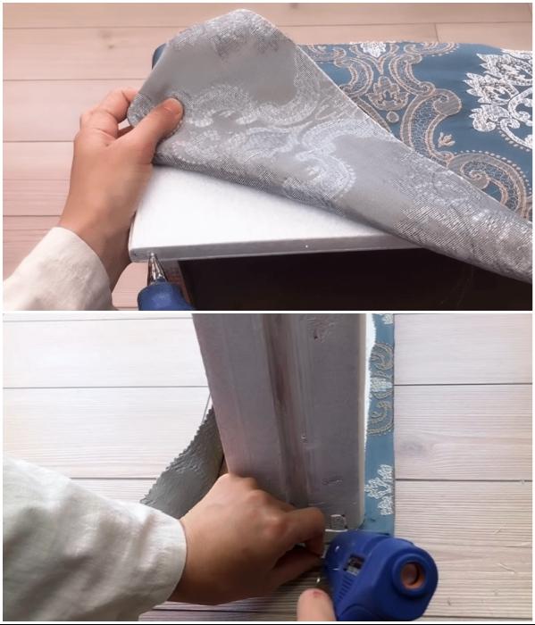 Процесс закрепления ткани с помощью клеевого пистолета. | Фото: youtube.com/ © SULTANIN OYUNCAK ATOLYESI.