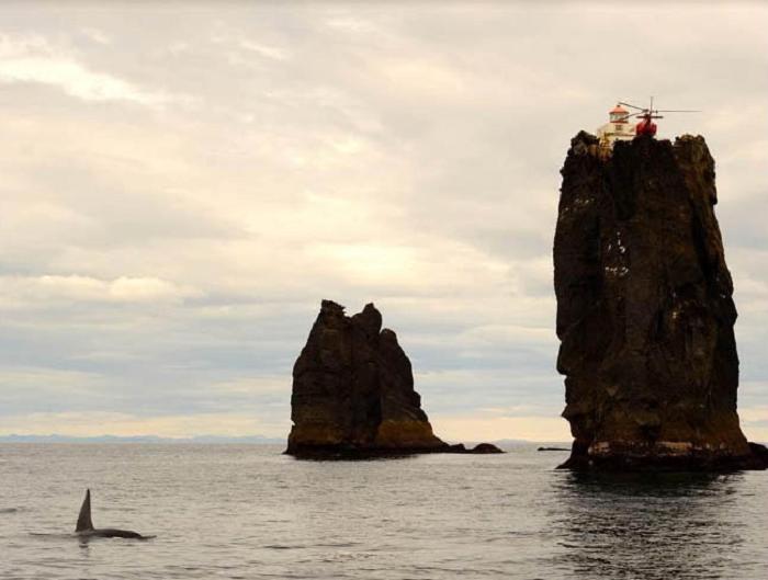 В безветренную погоду можно наблюдать даже за косатками (Thridrangar Lighthouse, Исландия). | Фото: positivetruenews.com.