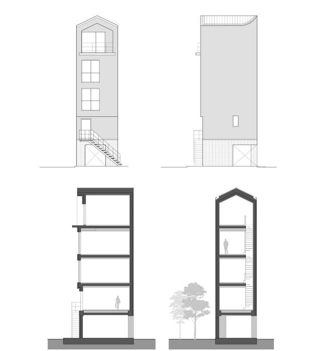 План-чертеж вертикального 5-этажного Seroro House. © Smaller Architects.