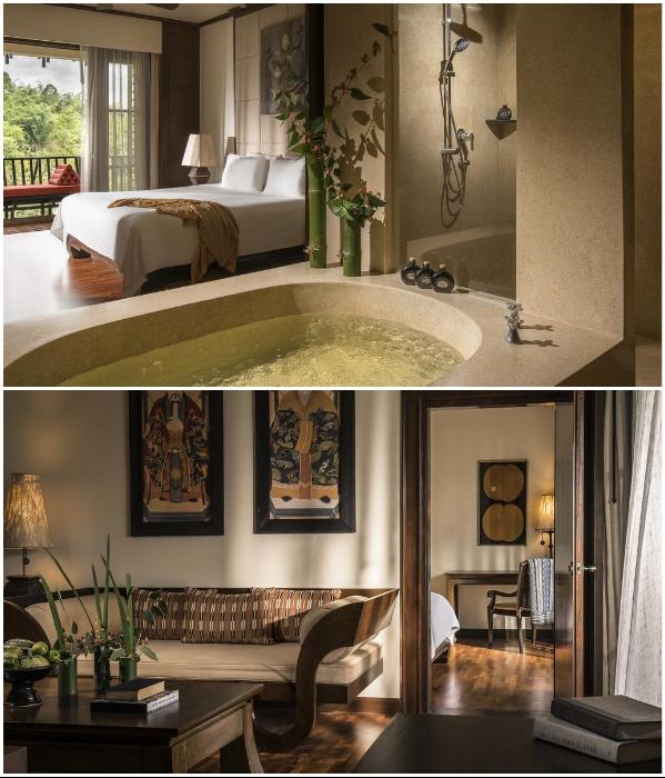 Интерьер номеров в корпусах курортного комплекса «Anantara Golden Triangle Elephant Camp & Resort» (Таиланд). | Фото: booking.com/ youtube.com, © Luxuori.