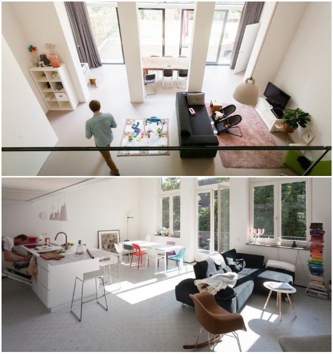 Каждая семья открытую планировку жилых зон обустраивала по-своему. | Фото: inhabitat.com.