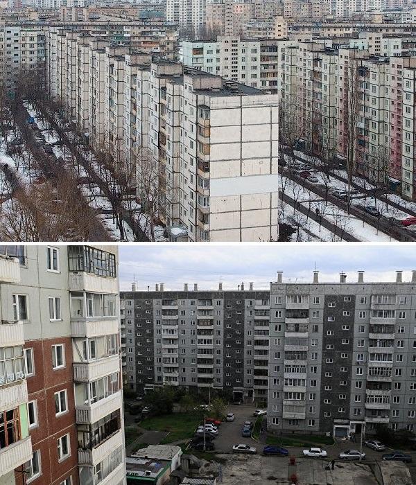Спальные районы, застроенные в 60-70 гг. прошлого века, малопривлекательные и одинаковые в разных странах (многоэтажки Венгрии и России). | Фото: pinterest.com.
