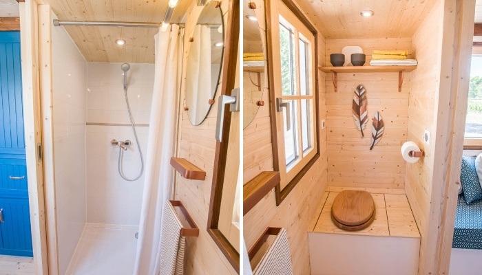 В мини-домике на колесах есть душевая и туалет (Solaris).   Фото: tinyhouse-baluchon.fr.