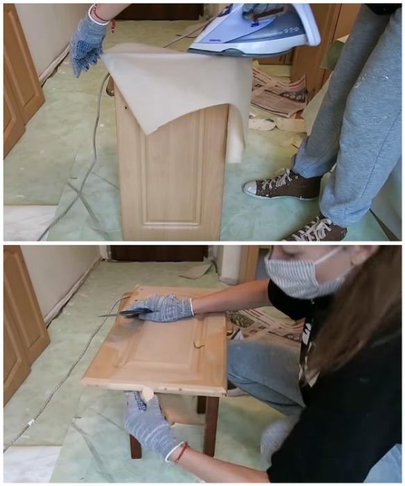 Горячий пар и шпатель помогут удалить пленку МДФ с мебели. youtube.com/ Anna_Studio.
