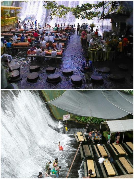 От прямых солнечных лучей и дождя посетителей спасает обычный парусиновый навес («Labassin Waterfall Restaurant», Филиппины). | Фото: funnypicclip.blogspot.com/ stagramer.com.