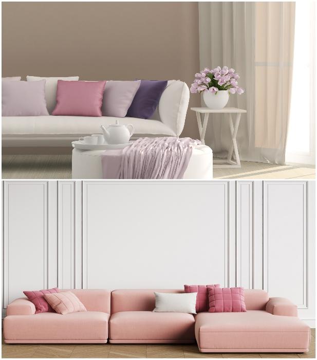 С помощью мебели или обычных диванных подушек при скромном оформлении стен можно создать любой интерьер. | Фото: masko.com.tr/ m.fonwall.ru.