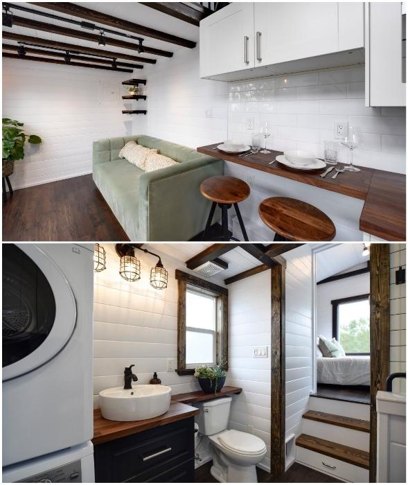 Уютная гостиная и благоустроенная ванная комната порадует владельцев или постояльцев, если домик используется в качестве номера (Canada Goose).