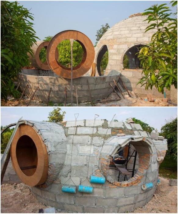 Три недели ушло на возведение всего купольного комплекса (Earthen Dome Home, Таиланд). | Фото: bigpicture.ru/ ©Steve Areen.