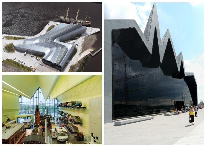 Форма конструкции Музея транспорта Риверсайд напоминает возвышающиеся волны (Глазго, Великобритания).