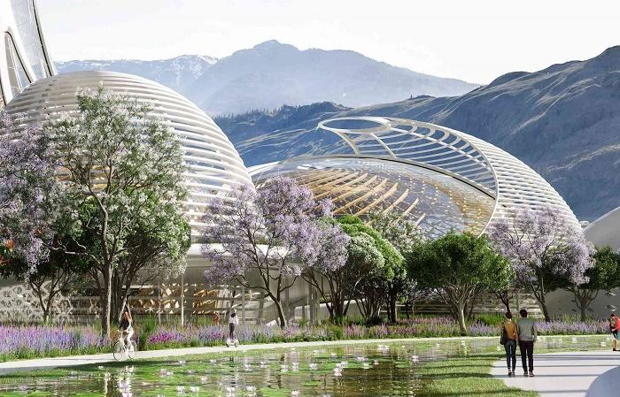На территории парка тоже можно будет прогуляться (концепт Pollinator Park). | Фото: vincent.callebaut.org.