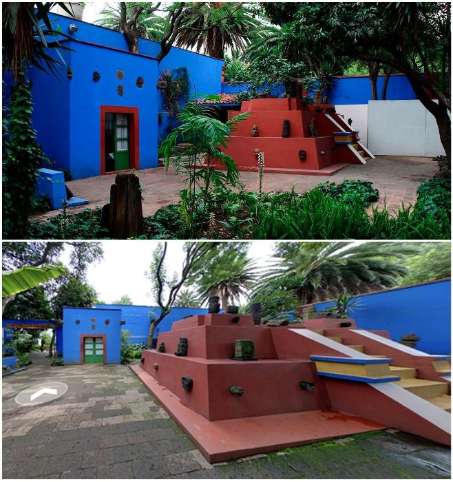 Во дворе музея Фриды Кало можно увидеть уменьшенное подобие пирамиды майя («Casa Azul», Мехико). | Фото: mymodernmet.com/ americantravel.com.ua.