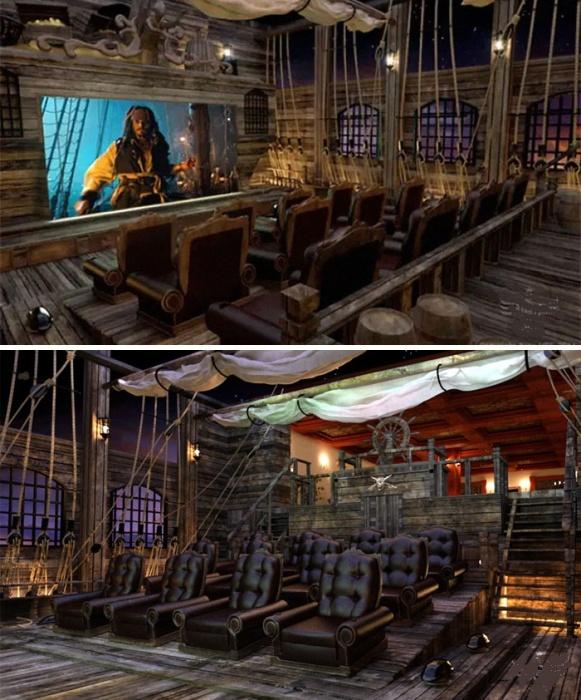 Колоритный кинозал в пиратском стиле доставит массу удовольствия только от нахождения в нем. | Фото: boredpanda.com.