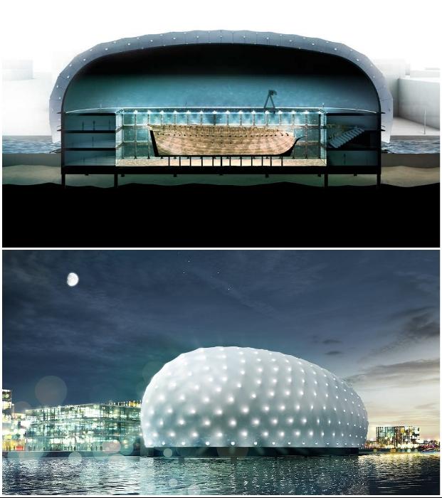 В Амстердаме планируется строительство подводного музея вокруг судна, затонувшего более 270 лет назад (концепт архстудии ZJA).