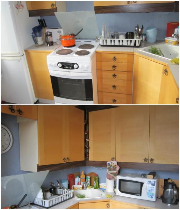 Старый кухонный гарнитур можно превратить в дизайнерскую мебель, причем без лишних затрат. | Фото: youtube.com/ © Новая Кухня Натали Нуво.