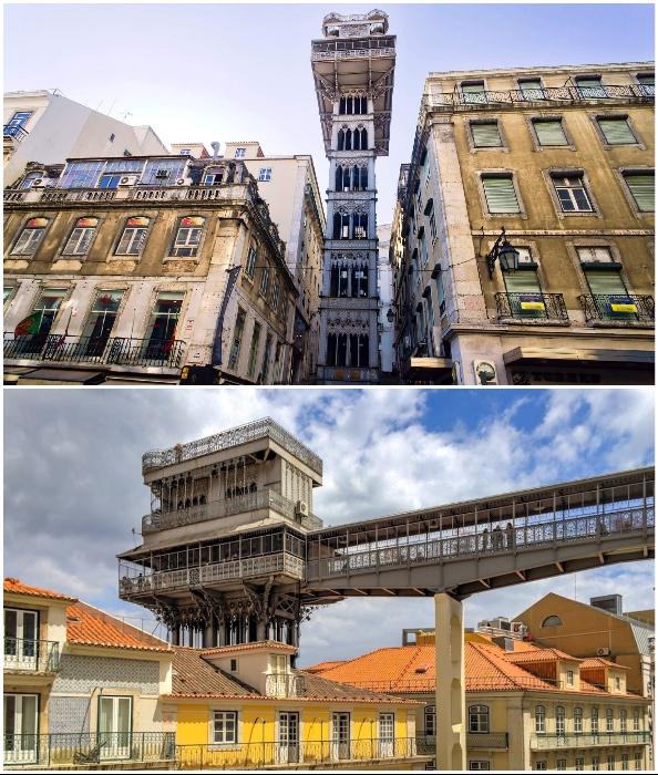 Лифт Elevador de Santa Justa в 2002 г. был признан памятником национального значения (Лиссабон, Португалия).