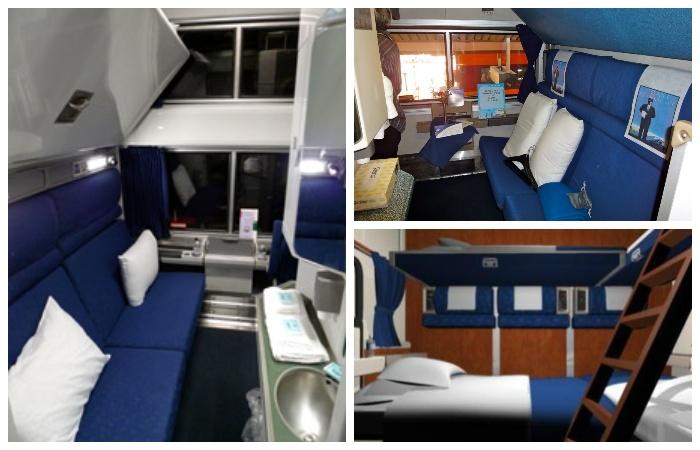 В американских поездах только купейные вагоны имеют полноценные полки и санузел внутри купе.