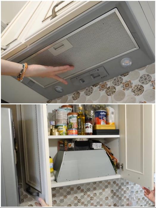 Вытяжку спрятали в шкаф для рационального использования его пространства и установили дополнительные полки. | Фото: youtube.com/ © Irin Andrez.