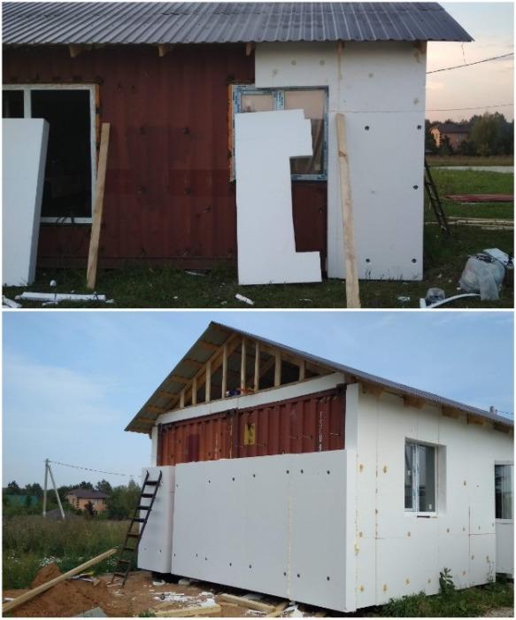 Для утепления контейнерного дома снаружи был выбран фасадный пенополистирол толщиной 200 мм. | Фото: pikabu.ru.
