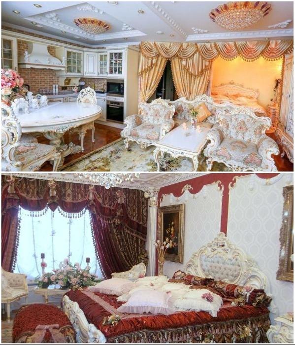 Роскошный дворцовый интерьер в малогабаритке потешит любое «императорское» самолюбие, но выглядит совсем не к месту.   Фото: pikabu.ru.
