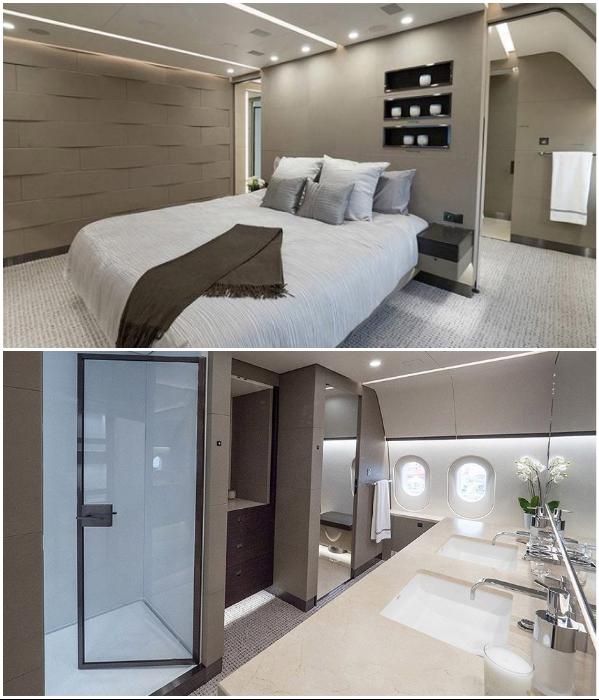 На борту авиалайнера обустроили 8 индивидуальных кают со спальнями и ванными комнатами (VVIP Boeing787 Dream Jet).   Фото: germany.nashieu.com.