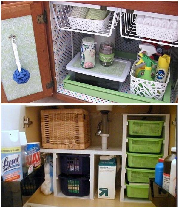 Пластиковые или решетчатые контейнеры для хранения моющих средств и полотенец тоже подойдут. | Фото: pinterest.com.