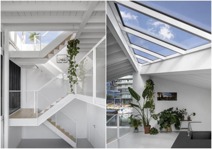 Лестница, заканчивающаяся под атриумом, стала главным связующим звеном внутреннего пространства (Schoonschip, Амстердам).