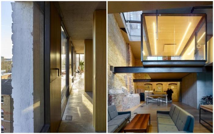 Планировка здания позволила обустроить просто фантастический интерьер (15 Clerkenwell Close, Лондон).