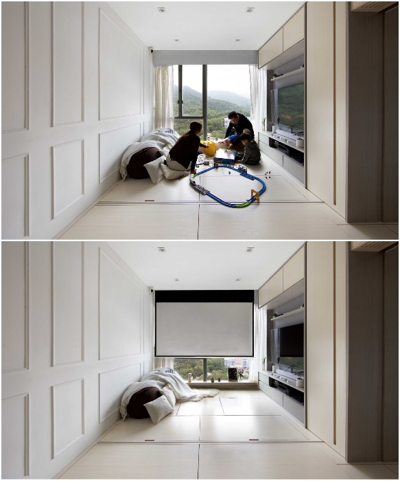 Гостиную без проблем можно превратить как в игровую комнату, так и в кинозал (Smart Zendo). | Фото: sim-plex-design.com.