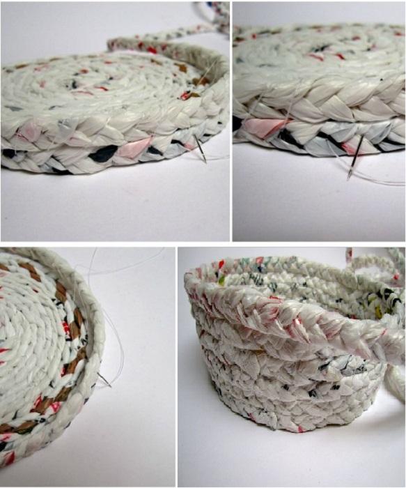 Вкруговую, ряд за рядом, формируем бортики вазы нужной высоты, сшивая их между собой.
