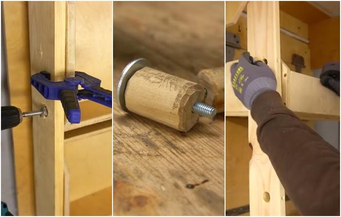 Как сделать отверстие и закрепить деревянную втулку на боковой стенке ящика. | Фото: youtube.com/ © Men's Craft.